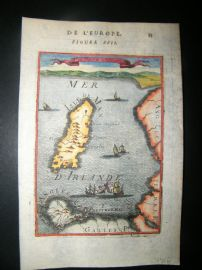 Mallet 1683 Antique Hand Col Map. Isle of Man, Ships, UK